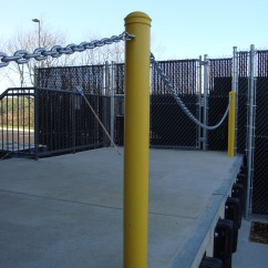 Bollards With Adorned Chains On A Loading Dock