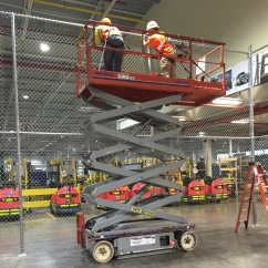Harnessed In A Scissor Lift