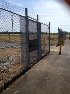 Bollards At A Driveway Gate Entry